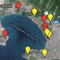 Карта гостиниц и отелей Геленджика