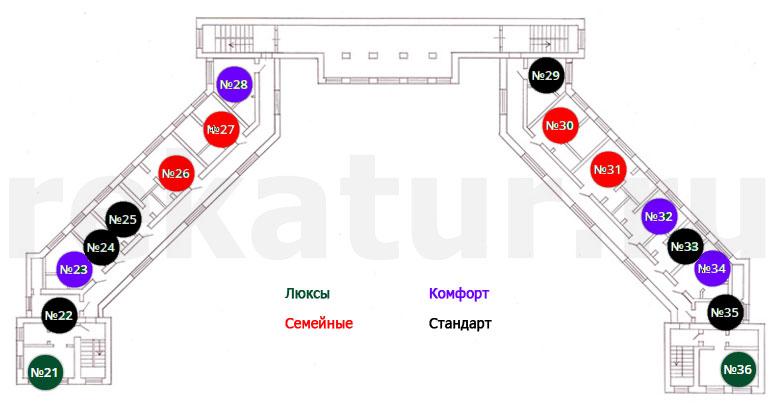 Схема номеров санатория Белый Камень в Асбесте