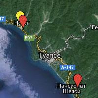 Карта отелей, гостиниц и пансионатов Туапсе