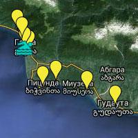 Карта гостиниц, отелей и пансионатов Абхазии