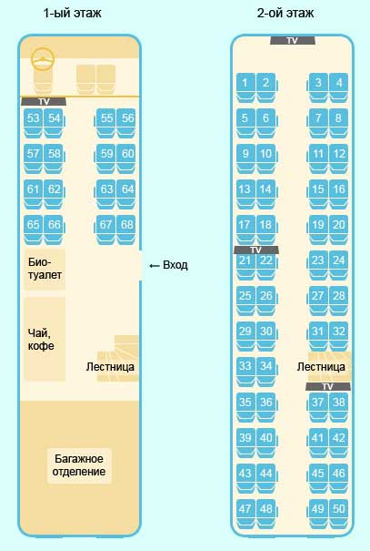 Схема салона автобуса