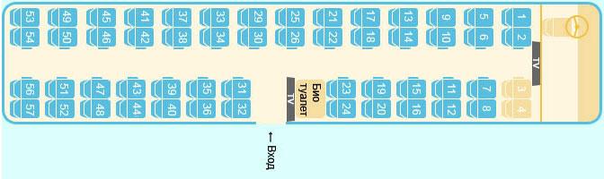 Схема салона туристического автобуса